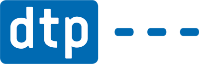 Weißer Schriftzug DTP auf blauem Grund